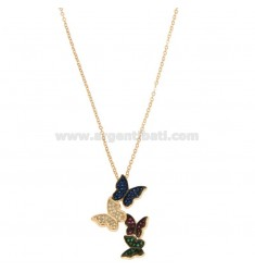 CHAIN CABLE WITH BUTTERFLIES DEGRADE PENDING SILVER ROSE TIT 925 ‰ AND COLORED ZIRCONIA CM 42-45