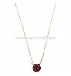 CHAIN \u200b\u200bCABLE WITH CENTRAL ROUND IN SILVER ROSE TIT 925 ‰ AND RED ZIRCONIA CM 42-45