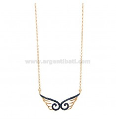 CHAIN \u200b\u200bCABLE WITH WINGS CENTRAL WINGS IN SILVER ROSE TIT 925 ‰ AND ZIRCONIA BLUE CM 42-45