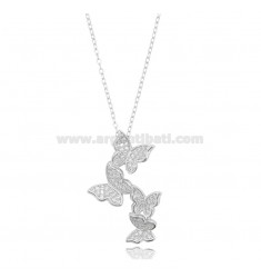CHAIN CABLE WITH BUTTERFLIES DEGRADE PENDING SILVER RHODIUM TIT 925 ‰ AND WHITE ZIRCONIA CM 42-45