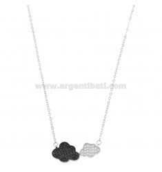 CHAIN \u200b\u200bWITH CENTRAL CLOUDS IN SILVER RHODIUM TIT 925 ‰ AND WHITE AND BLACK ZIRCONIA CM 42-45