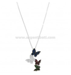 CABLE CHAIN WITH DEGRADE BUTTERFLIES PENDING SILVER RHODIUM TIT 925 ‰ AND COLORED ZIRCONIA CM 42-45