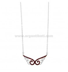 CHAIN \u200b\u200bCABLE WITH WINGS CENTRAL WINGS IN SILVER RHODIUM TIT 925 ‰ AND RED ZIRCONIA CM 42-45