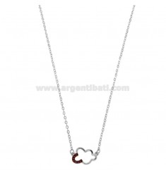CHAIN \u200b\u200bCUP WITH CENTRAL CONCEPT NUT IN SILVER RHODIUM TIT 925 ‰ AND RED ZIRCONIA CM 42-45