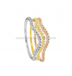 VERDONE ONDINA RING PZ 3 IN SILVER TRICOLOR TIT 925 ‰ AND ZIRCONI SIZE 14