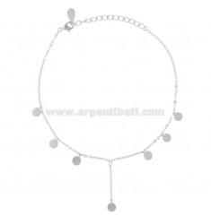 ANKLE CABLE WITH DISCETTI PENDANTS IN SILVER RHODIUM TIT 925 CM 23-26