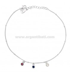 ANKLE CABLE WITH ZIRCONES COLORED PENDANTS IN SILVER RHODIUM TIT 925 CM 23-26