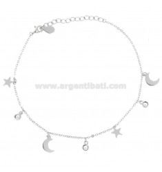 ANKLE CABLE WITH STARS AND LUNES IN SILVER RHODIUM TIT 925 AND ZIRCONIA CM 23-26