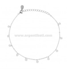 ANKLE CABLE WITH ZIRCONIA PENDANTS IN SILVER RHODIUM TIT 925 CM 23-26