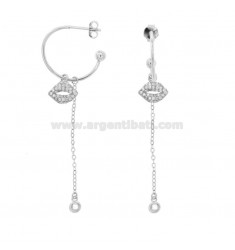 EARRINGS A CIRCLE MM 18 WITH CHAIN \u200b\u200bCABLE AND MOUTH PENDANT IN SILVER RHODIUM TIT 925 ‰ AND ZIRCONIA