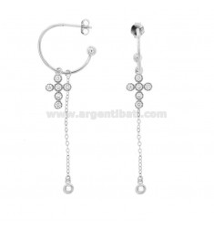 EARRINGS A CIRCLE MM 18 WITH CHAIN \u200b\u200bCABLE AND CROSS PENDANT IN SILVER RHODIUM TIT 925 ‰ AND ZIRCONIA