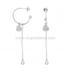 EARRINGS A CIRCLE MM 18 WITH CHAIN \u200b\u200bCABLE AND HEART PENDANT SILVER RHODIUM TIT 925 ‰ AND ZIRCONIA