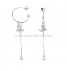EARRINGS A CIRCLE MM 18 WITH CHAIN \u200b\u200bCABLE AND BUTTERFLY PENDING IN SILVER RHODIUM TIT 925 ‰ AND ZIRCONIA