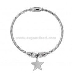 BRACELET MOUNTED STEEL BRACELET WITH STAR AND RHINESTONES