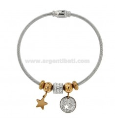 RIGID TWO-TONE STEEL BRACELET WITH STAR AND RHINESTONES
