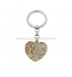KEYRING WITH TREE OF LIFE IN THE HEART IN STEEL TWO-TONE