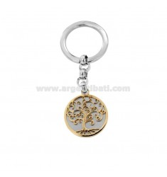 KEYRING WITH TWO-TONE STEEL LIFE TREE