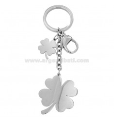 KEYRING WITH STEEL QUADRIFOGLIO