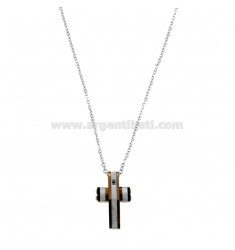 CHAIN \u200b\u200bCABLE 50 CM AND CROSS WITH ZIRCONE PENDANT IN STEEL TRICOLOR