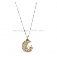 NECKLACE CABLE AND MOON PENDANT IN RHODIUM STEEL AND COPPER CM 50