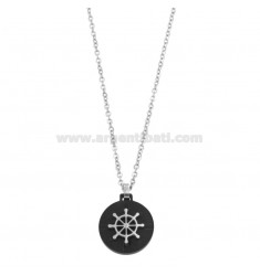 CHAIN \u200b\u200bCABLE 50 CM WITH ROSE TIMONE PENDANT IN STEEL TWO-TONE