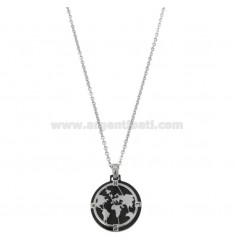 CHAIN \u200b\u200bCABLE 50 CM WITH WORLD PENDANT IN STEEL TWO-TONE