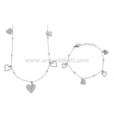 NECKLACE CM 80 AND BRACELET CM 18 CABLE WITH ALTERNATE SPHERES AND HEARTS PENDANTS IN BRONZE RHODIUM AND COPPER CM 90