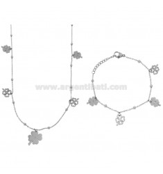 NECKLACE CM 80 AND BRACELET CM 18 CABLE WITH ALTERNATE SPHERES AND QUADRIFOGLI PENDANTS IN BRONZE RHODIUM AND COPPER CM 90