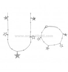 NECKLACE CM 80 AND BRACELET CM 18 CABLE WITH ALTERNATE SPHERES AND STARS PENDANTS IN BRONZE RHODIUM AND COPPER CM 90