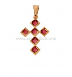 PENDANT CROSS 6 ROMBI MM 27X18 SILVER ROSE TIT 925 ‰ AND SMOKE CATHEDRAL PINK