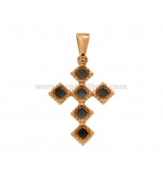 PENDANT CROSS 6 ROMBI MM 27X18 SILVER ROSE TIT 925 ‰ AND BLACK CATHEDRAL ENAMEL