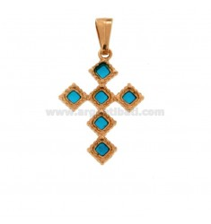 PENDANT CROSS 6 ROMBI MM 27X18 SILVER ROSE TIT 925 ‰ AND ENAMEL CATHEDRAL TURQUOISE