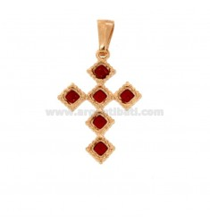 PENDANT CROSS 6 ROMBI MM 27X18 SILVER ROSE TIT 925 ‰ AND SMALL CATTEDRAL RED