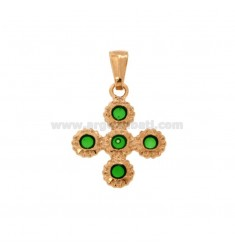 PENDANT CROSS 5 ROUND 22x18 MM SILVER ROSE TIT 925 ‰ AND SMALL CATTEDRAL GREEN