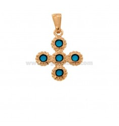 PENDANT CROSS 5 ROUND 22x18 MM SILVER ROSE TIT 925 ‰ AND ENAMEL CATHEDRAL TURQUOISE