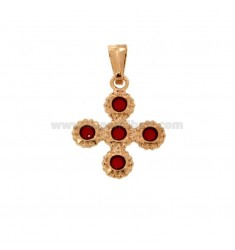 PENDANT CROSS 5 ROUND 22x18 MM SILVER ROSE TIT 925 ‰ AND SMOKE CATHEDRAL RED