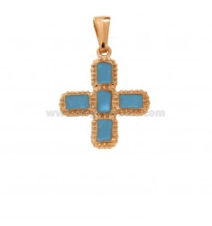PENDANT CROSS 5 SQUARED MM 24X20 SILVER ROSE TIT 925 ‰ AND SMALL CATHEDRAL CELESTE