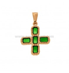 PENDANT CROSS 5 SQUARED MM 24X20 SILVER ROSE TIT 925 ‰ AND POLISH GREEN CATHEDRAL
