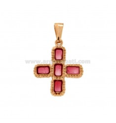 PENDANT CROSS 5 SQUARED MM 24X20 SILVER ROSE TIT 925 ‰ AND SMOKE CATHEDRAL PINK