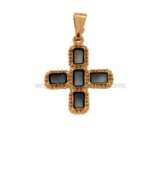 PENDANT CROSS 5 SQUARED 24x20 MM SILVER ROSE TIT 925 ‰ AND BLACK CATHEDRAL ENAMEL