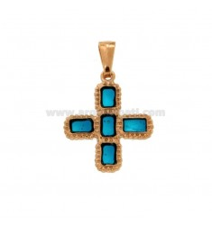 PENDANT CROSS 5 SQUARED MM 24X20 SILVER ROSE TIT 925 ‰ AND ENAMEL CATHEDRAL TURQUOISE