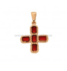 PENDANT CROSS 5 SQUARED MM 24X20 SILVER ROSE TIT 925 ‰ AND SMOKE CATHEDRAL RED