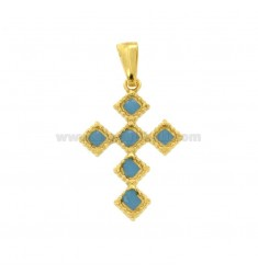 PENDANT CROSS 6 ROMBI MM 27X18 SILVER GOLDEN TIT 925 ‰ AND ENAMEL CATHEDRAL CELESTE