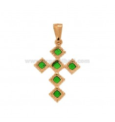 PENDANT CROSS 6 ROMBI MM 27X18 SILVER GOLDEN TIT 925 ‰ AND SMALL CATTEDRAL GREEN