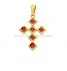 PENDANT CROSS 6 ROMBI MM 27X18 SILVER GOLDEN TIT 925 ‰ AND SMOKE CATHEDRAL PINK