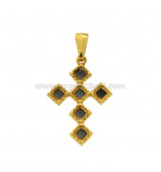 PENDANT CROSS 6 ROMBI MM 27X18 SILVER GOLDEN TIT 925 ‰ AND SMOKE CATHEDRAL BLACK