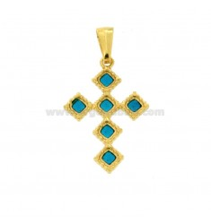 PENDANT CROSS 6 ROMBI MM 27X18 SILVER GOLDEN TIT 925 ‰ AND ENAMEL CATHEDRAL TURQUOISE