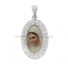 PENDANT OVAL ELECTROFUSO MADONNA MEJUGORIE MM 29X18 SILVER RHODIUM TIT 925 ‰