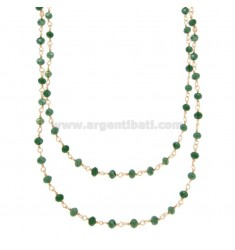 2 WIRE NECKLACE DEGRADE WITH GREEN STONES STONES faceted SILVER ROSE TIT 925 ‰ CM 40-50