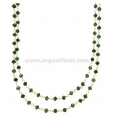 2 WIRE NECKLACE DEGRADE WITH GREEN STONES STONES IN SILVER GOLDEN TIT 925 ‰ CM 40-50